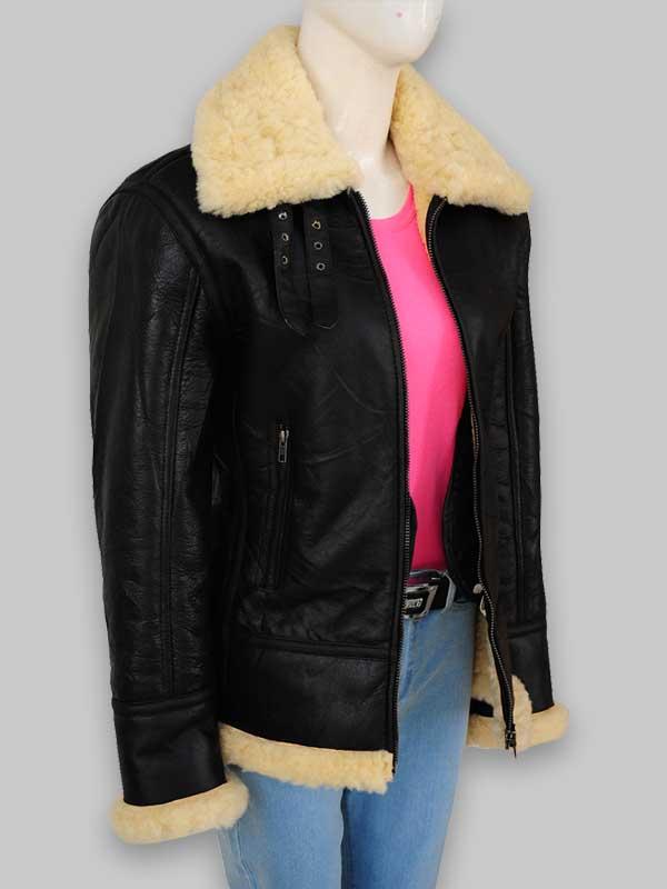 B3 Avaitor Women's Fur Black Leather Shearling Collar Jacket