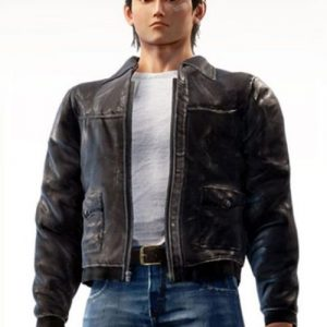 Black Bomber Leather Jacket worn by Backer in Video Game Shenmue 3