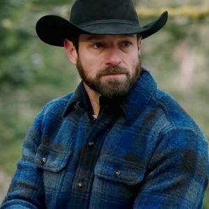 Ian-Bohen-Yellowstone-Ryan-Blue-Flannel-Jacket