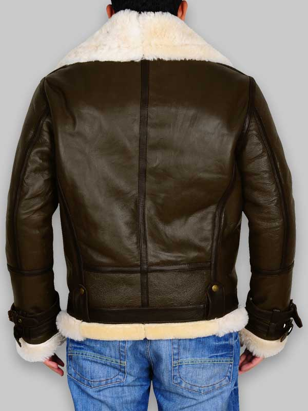 WWII B3 Bomber Men Army Green Shearling Jacket