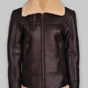 Women Brown B3 Shearling Aviator Leather Jacket