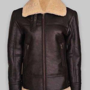 Women Brown B3 Shearling Aviator Leather Jacket