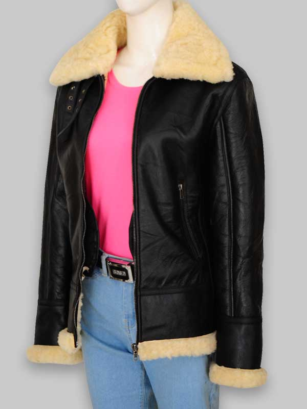 Shearling Women's B3 Black Leather Jacket