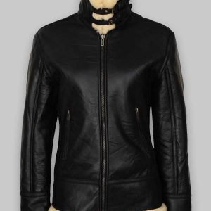 Women's B3 Black Shearling Fur Collar Leather Jacket