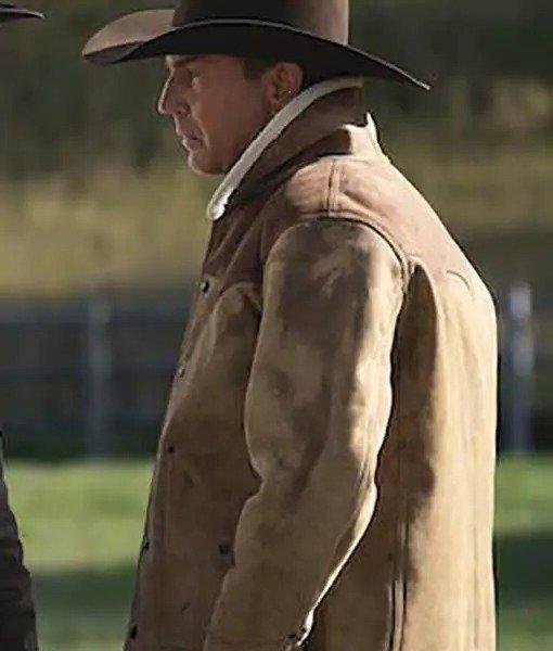 Yellowstone S03 john Dutton Shearling Leather Jacket