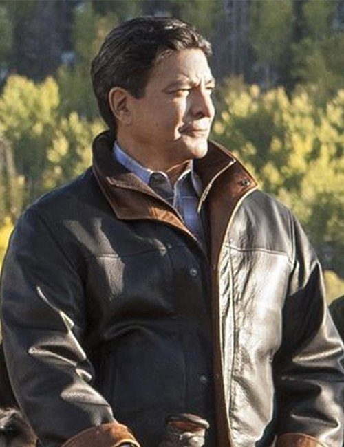 Yellowstone Series Thomas Rainwater Brown Gil Birmingham Leather Jacket