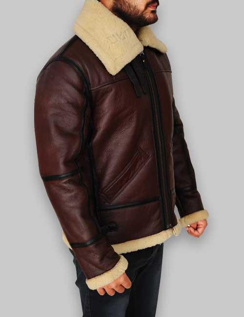 B3 RAF Men Shearling Brown Leather Jacket