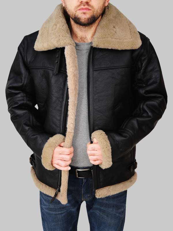 Real Sheepskin Flying Aviator Black Bomber Shearling Jacket