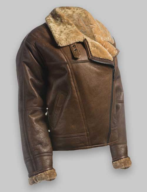 Flight Avaitor Brown Shearling Leather Jacket For Womens