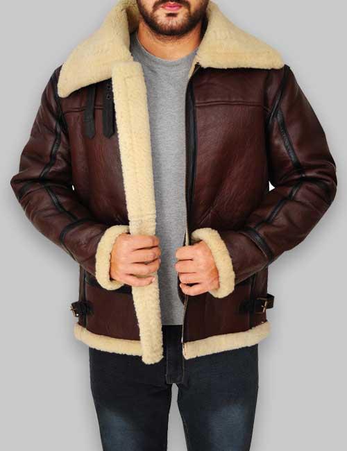 Real Sheepskin Fur Shearling Men Bomber Leather Jacket