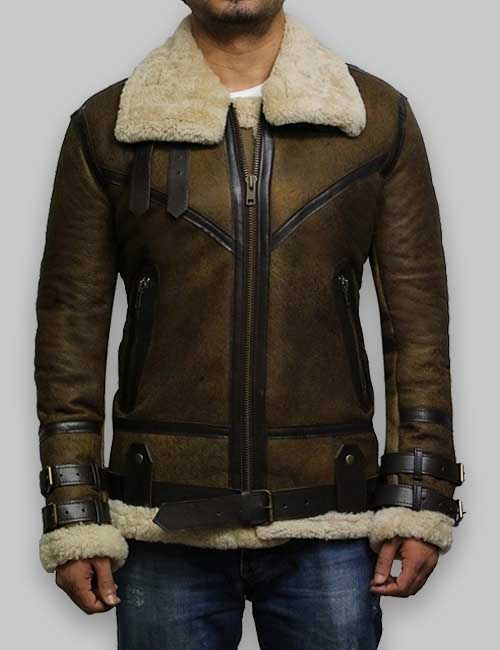 Olive Brown Men B3 Aviator Bomber Shearling Leather Jacket