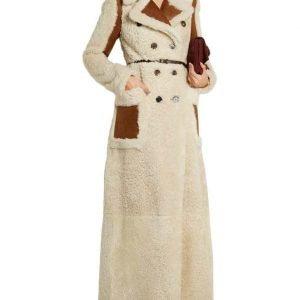 Camila Shearling Long Double-Breasted Coat