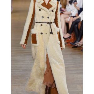 Camila Shearling Long Double-Breasted Coat