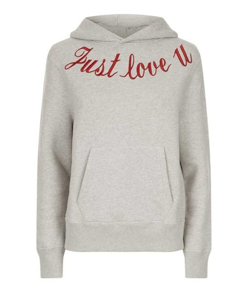 Just Love You Embroidered Pullover Hoodie