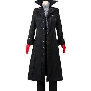 Persona 5 Joker Black Trench Leather Coat