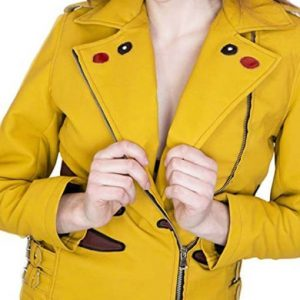 Pikachu Pokemon Yellow Leather Jacket