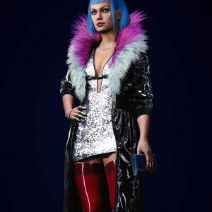 Evelyn Parker Cyberpunk 2077 Black Leather Fur Collar Coat