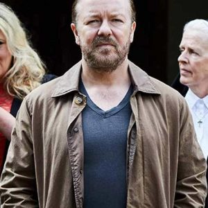 Tony After Life S03 Ricky Gervais Brown Cotton Jacket