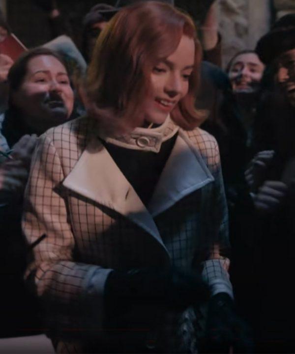 Anya Taylor-Joy The Queen's Gambit Beth Harmon Checkered Coat