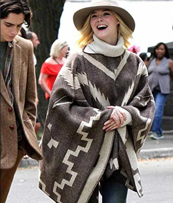 Elle Fanning A Rainy Day In New York Mexican Style Poncho