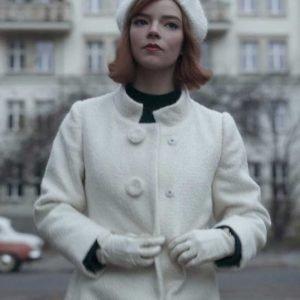 The Queen's Gambit Anya Taylor Joy Trench White Coat