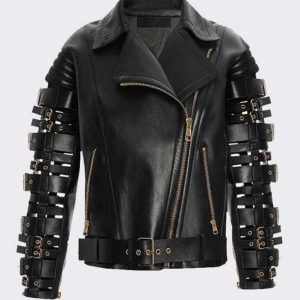 Straps and Buckles Zendaya Coleman Black Biker Leather Jacket
