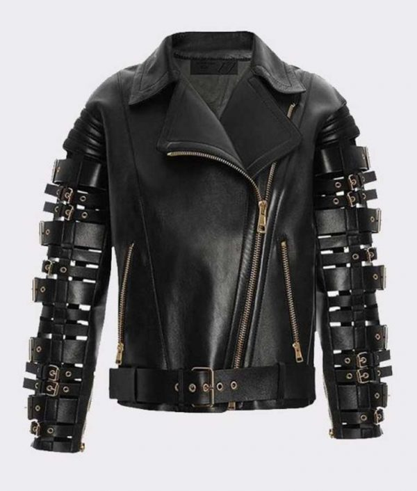 Straps and Buckles Zendaya Coleman Black Biker Leather Jacket