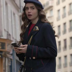 Lily Collins Emily In Paris Blue Peacoat
