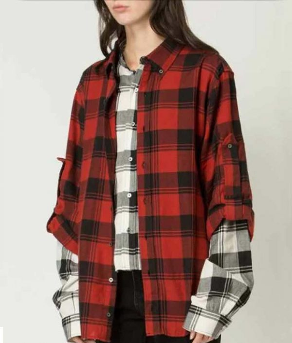 Lily Collins Emily In Paris Red Plaid Shirt