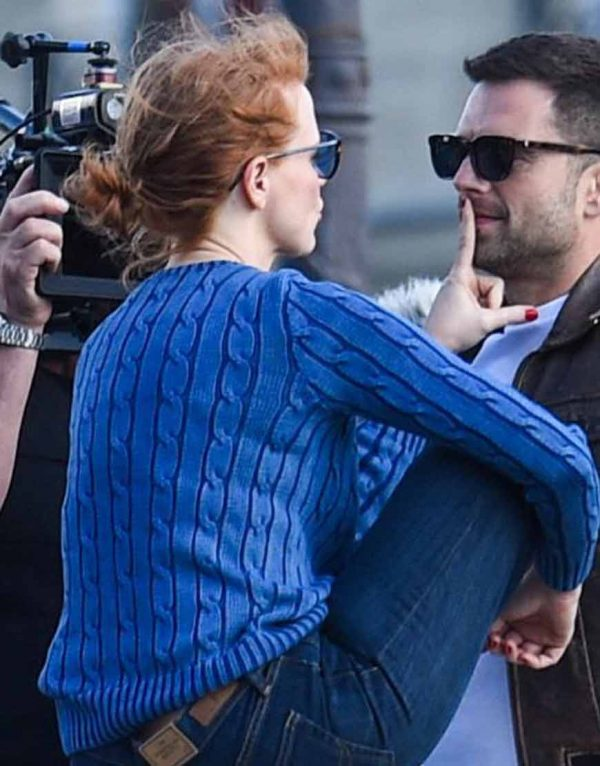 Jessica Chastain Blue Sweater