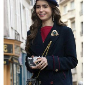 Emily Cooper TV Series Emily In Paris Lily Collins Blue Peacoat
