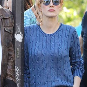 Jessica Chastain The 355 Blue Woolen Sweater