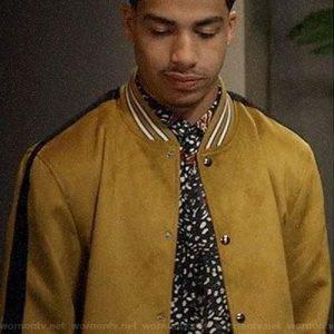 Junior's Black-ish Marcus Scribner Yellow Suede Bomber Jacket