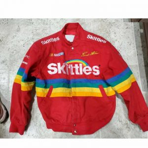Red Bomber Style Skittles Racing Jacket