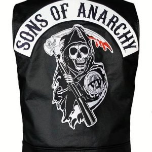 Jackson Jax Teller Son Of Anarchy Charlie Hunnam Black Leather Vest