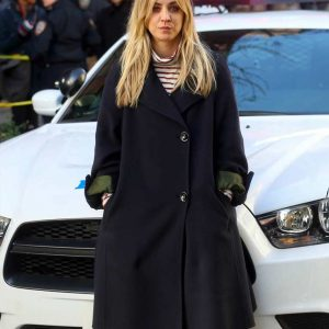 Cassie The Flight Attendant Blue Trench Kaley Cuoco Coat