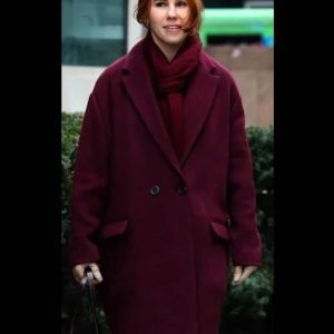 Annie The Flight Attendant Zosia Mamet Trench Maroon Coat