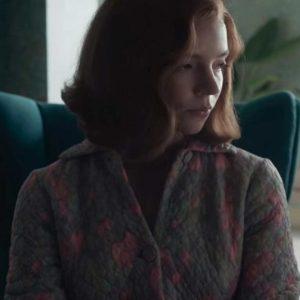Anya Taylor-Joy The Queen's Gambit Beth Harmon Quilted Cotton Coat