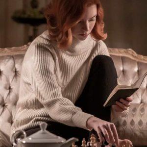 The Queen's Gambit Anya Taylor Joy White Beth Harmon Sweater