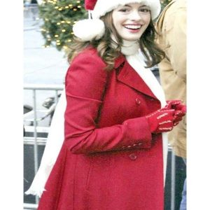 Anne Hathaway Red Trench Christmas Party Coat