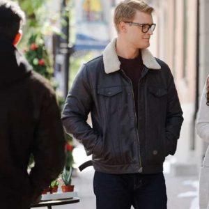 Bryan Dashing Home for Christmas Brown Leather Jacket