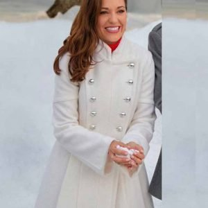 One Royal Holiday Laura Osnes White Wool Blend Coat