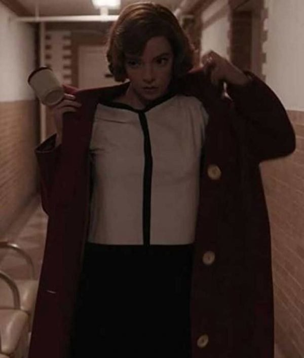 Beth Harmon The Queens Gambit Red Trench Anya Taylor-Joy Coat