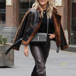 Ashley Roberts Shearling Jacket | Aviator Brown Leather Christmas Jacket