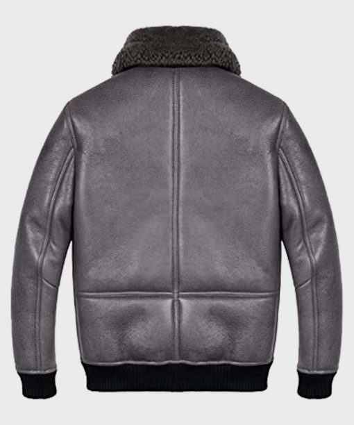 Mens Shearling Grey Sheepskin B2 Leather Jacket