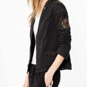 Annaleigh Ashford B Positive Gina Black Cotton Military Jacket