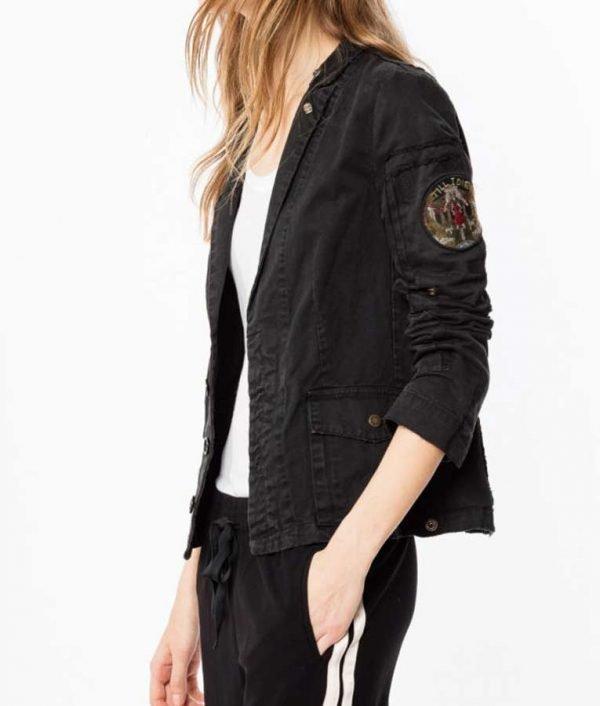 Annaleigh Ashford B Positive Gina Black Cotton Military Jacket