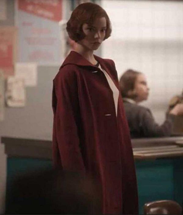 Anya Taylor-Joy The Queens Gambit Beth Harmon Red Coat