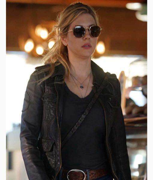 Jenny Hoyt Black Leather Jacket | Big Sky Katheryn Winnick Jacket