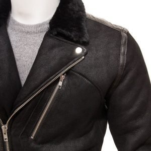 Black Shearling Fur Leather Jacket For Mens